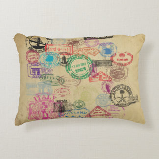 Vintage Passport Stamps Accent Pillow