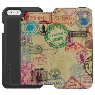 Vintage Passport Stamps Black iPhone Wallet Case