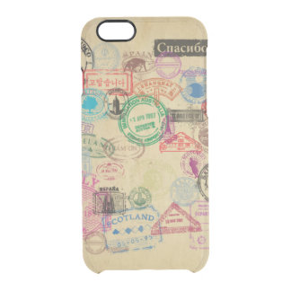 Vintage Passport Stamps Clear iPhone 6/6S Case