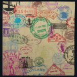 "Vintage Passport Stamps Cloth Napkins (set of 4)<br><div class=""desc"">Unleash your inner traveller with this vintage looking design featuring passport (and immigration) stamps from around the world.</div>"