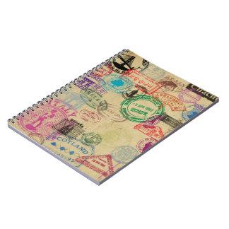 Vintage Passport Stamps Notebook