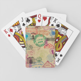 Vintage Passport Stamps Playing Cards