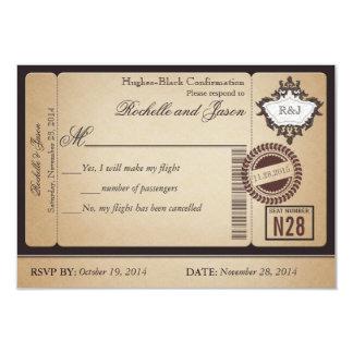 "Vintage Passport Ticket RSVP 3.5"" X 5"" Invitation Card"