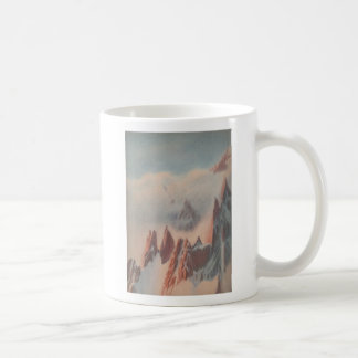 Vintage pastel drawing mountain glacier landscape coffee mug