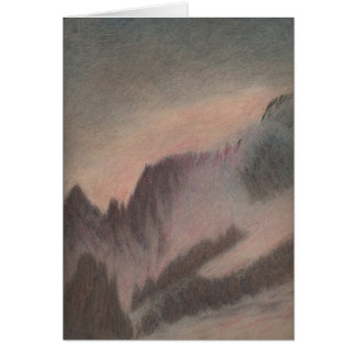 Vintage pastel drawing stormy mountain landscape card