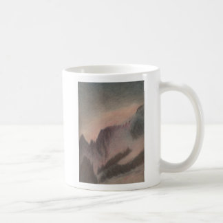 Vintage pastel drawing stormy mountain landscape coffee mug