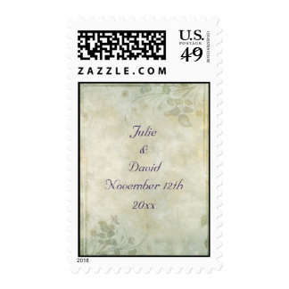 Vintage Pastel Floral Wedding Postage Stamp