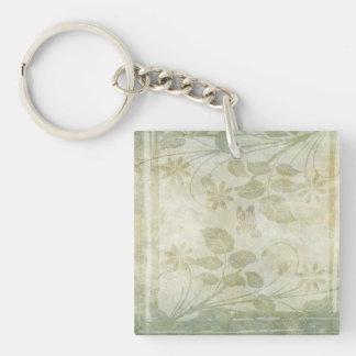 Vintage Pastel Floral Wedding Single-Sided Square Acrylic Keychain