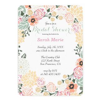 Vintage Pastel Flower Wreath Party Invitation