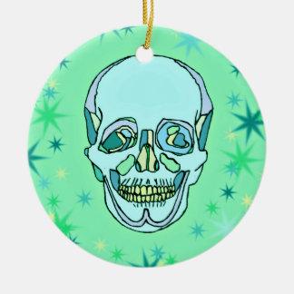 Vintage Pastel Green & Teals Skull and Stars Ceramic Ornament