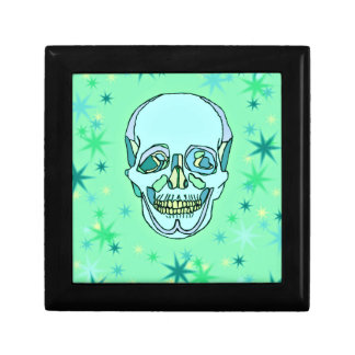 Vintage Pastel Green & Teals Skull and Stars Jewelry Box