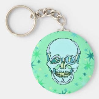 Vintage Pastel Green & Teals Skull and Stars Keychain