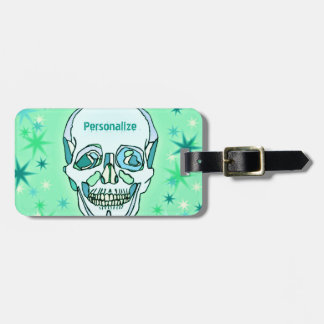 Vintage Pastel Green & Teals Skull and Stars Luggage Tags