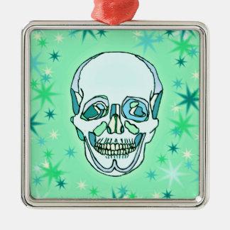Vintage Pastel Green & Teals Skull and Stars Metal Ornament