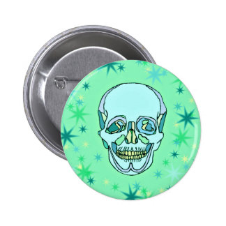 Vintage Pastel Green & Teals Skull and Stars Pinback Button