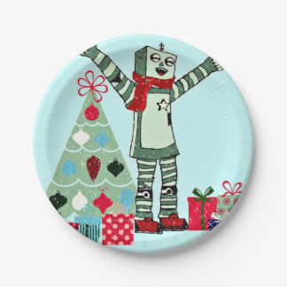 Vintage Pastel Holiday Robot Boy & Gifts Plates 7 Inch Paper Plate