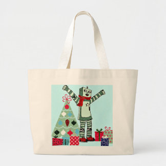 Vintage Pastel Holiday Robot Boy, Tree, & Gifts Bags