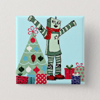 Vintage Pastel Holiday Robot Boy, Tree, & Gifts Button