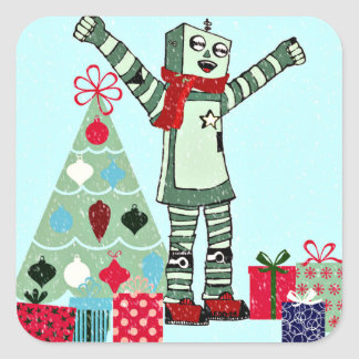 Vintage Pastel Holiday Robot Boy, Tree, & Gifts Square Sticker