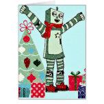 Vintage Pastel Holiday Robot Boy, Tree, & Gifts Greeting Card