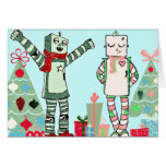 Vintage Pastel Holiday Robots with Trees & Gifts Card