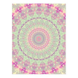 Vintage Pastel Mandala Kaleidoscope Pattern Postcard