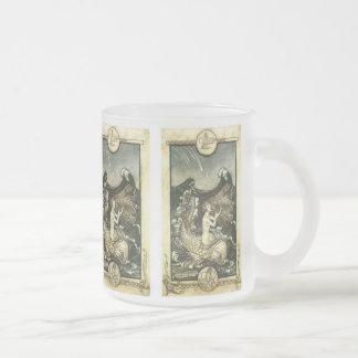 VINTAGE PASTEL MERMAID PRINT FROSTED GLASS COFFEE MUG