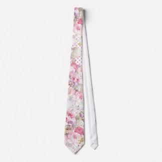 Vintage pastel pink floral pink polka dots pattern neck tie