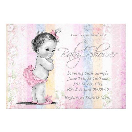 Vintage Pastel Rainbow Baby Shower Personalized Invites