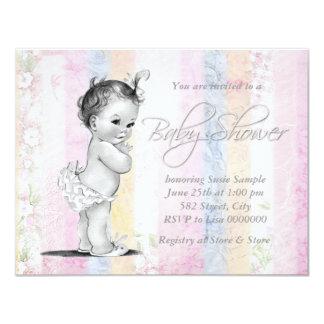 "Vintage Pastel Rainbow Baby Shower 4.25"" X 5.5"" Invitation Card"