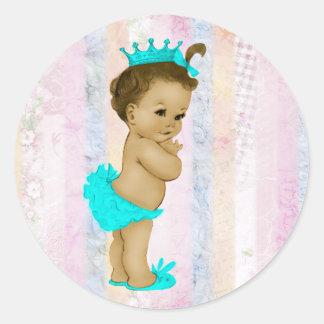 Vintage Pastel Rainbow Princess Baby Shower Sticker