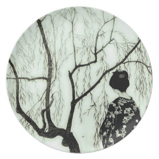 Vintage Pastel Tree Branches Japanese Woman Plate
