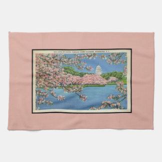 Vintage Pastel Washington D.C. Cherry Blossom Kitchen Towel