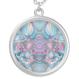 vintage pastels round pendant necklace