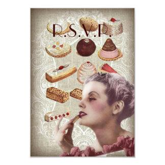 vintage pastry bridal shower tea party card