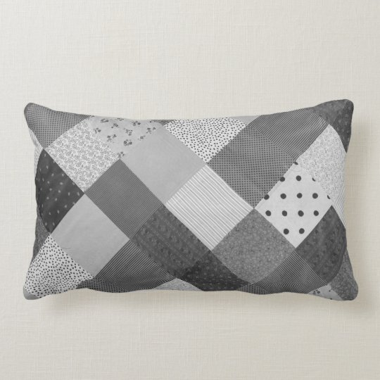 vintage patchwork fabric design black and white lumbar pillow. Black Bedroom Furniture Sets. Home Design Ideas