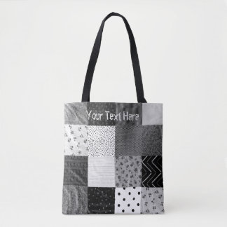 vintage patchwork fabric design black and white tote bag