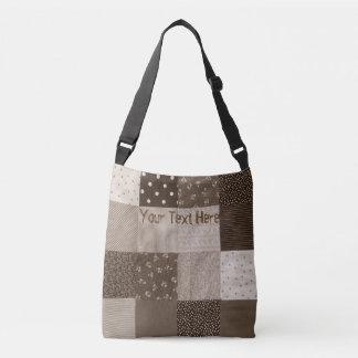 vintage patchwork fabric retro sepia design crossbody bag