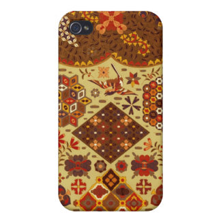 Vintage Patchwork Floral - In Autumn Colors iPhone 4 Covers