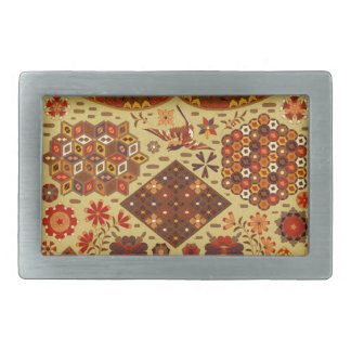 Vintage Patchwork Floral - In Autumn Colors Rectangular Belt Buckle