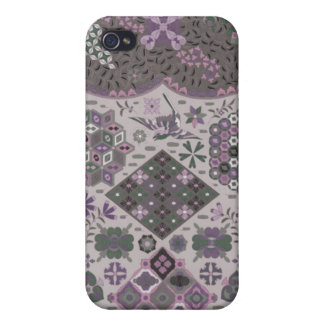 Vintage Patchwork Floral - Subdued Pink and Green iPhone 4 Cases