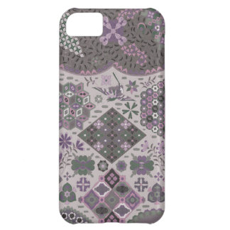 Vintage Patchwork Floral - Subdued Pink and Green iPhone 5C Covers