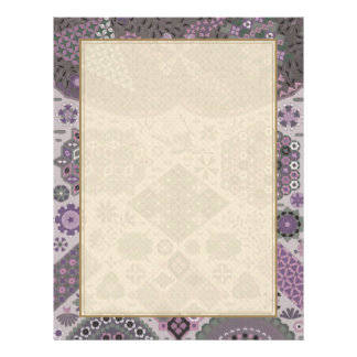 Vintage Patchwork Floral - Subdued Pink and Green Letterhead