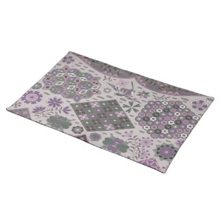 Vintage Patchwork Floral - Subdued Pink and Green Placemat
