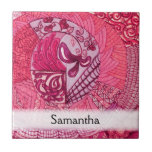 Vintage Patchwork - Hot pink Small Square Tile