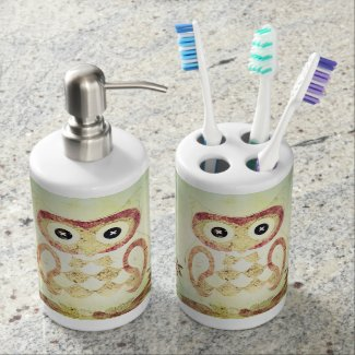 Vintage Patchwork Owls Bath Set