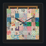 "Vintage Patchwork Quilt Square Wall Clock<br><div class=""desc"">A colorful vintage style patterned quilting themed clock with bold easy to see black numbers. Design features a realistic looking traditional patchwork quilt on a wood quilt hanger.. Change the background color or accent it with your own initials or other text in the easy Zazzle editor, See many other sewing...</div>"