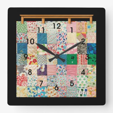 ClockORama Vintage Patchwork Quilt Square Wall Clock