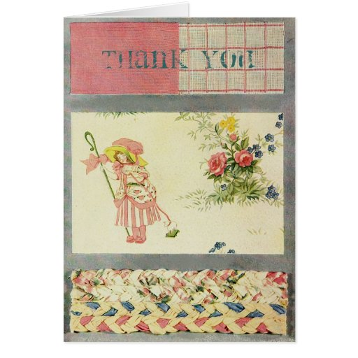 Vintage Patchwork Quilt Thank You Card in Pink