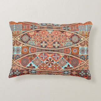 Vintage patchwork with floral mandala elements accent pillow